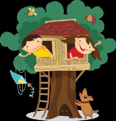 Children Having Fun in The Treehouse.