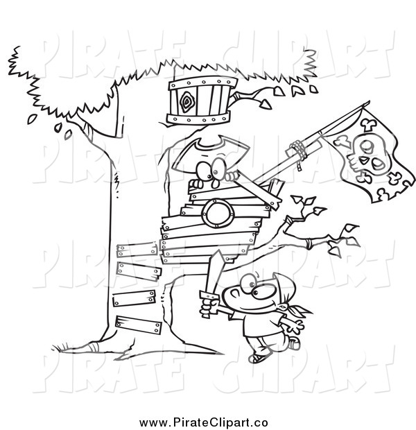Vector Clip Art of a Black and White Boy Playing near His Pirate.