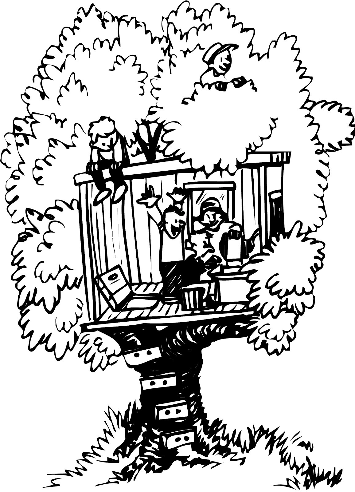 Tree House Clipart Black And White 20 Free Cliparts
