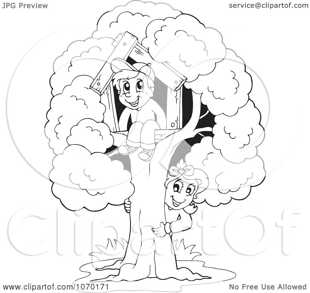 Clipart Outlined Children Playing At Their Tree House.
