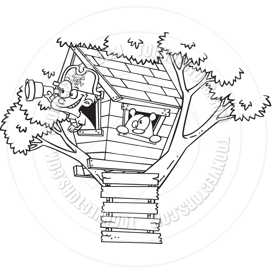 Cartoon Pirate Boy in Tree House (Black and White Line Art) by Ron.