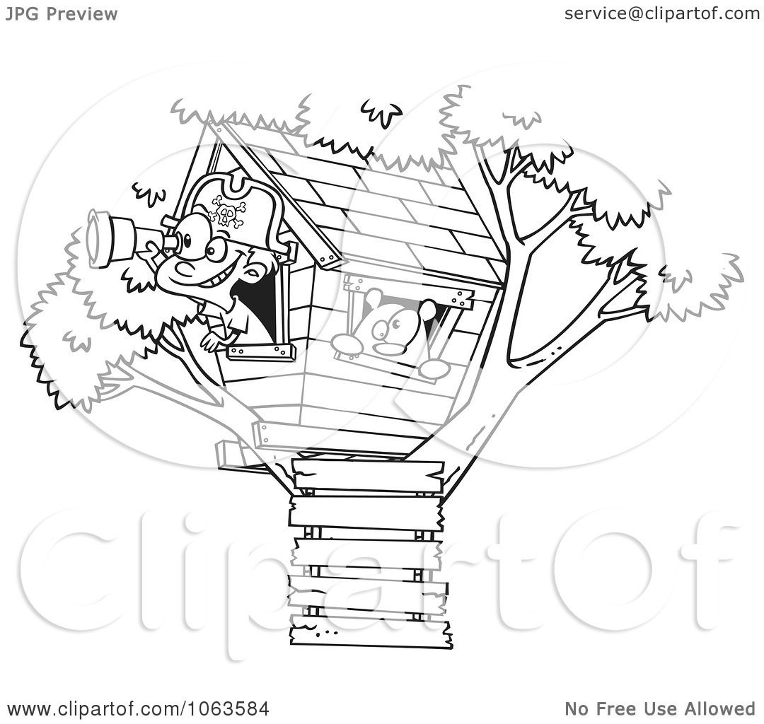 Clipart Pirate Boy In His Tree House Black And White Outline.