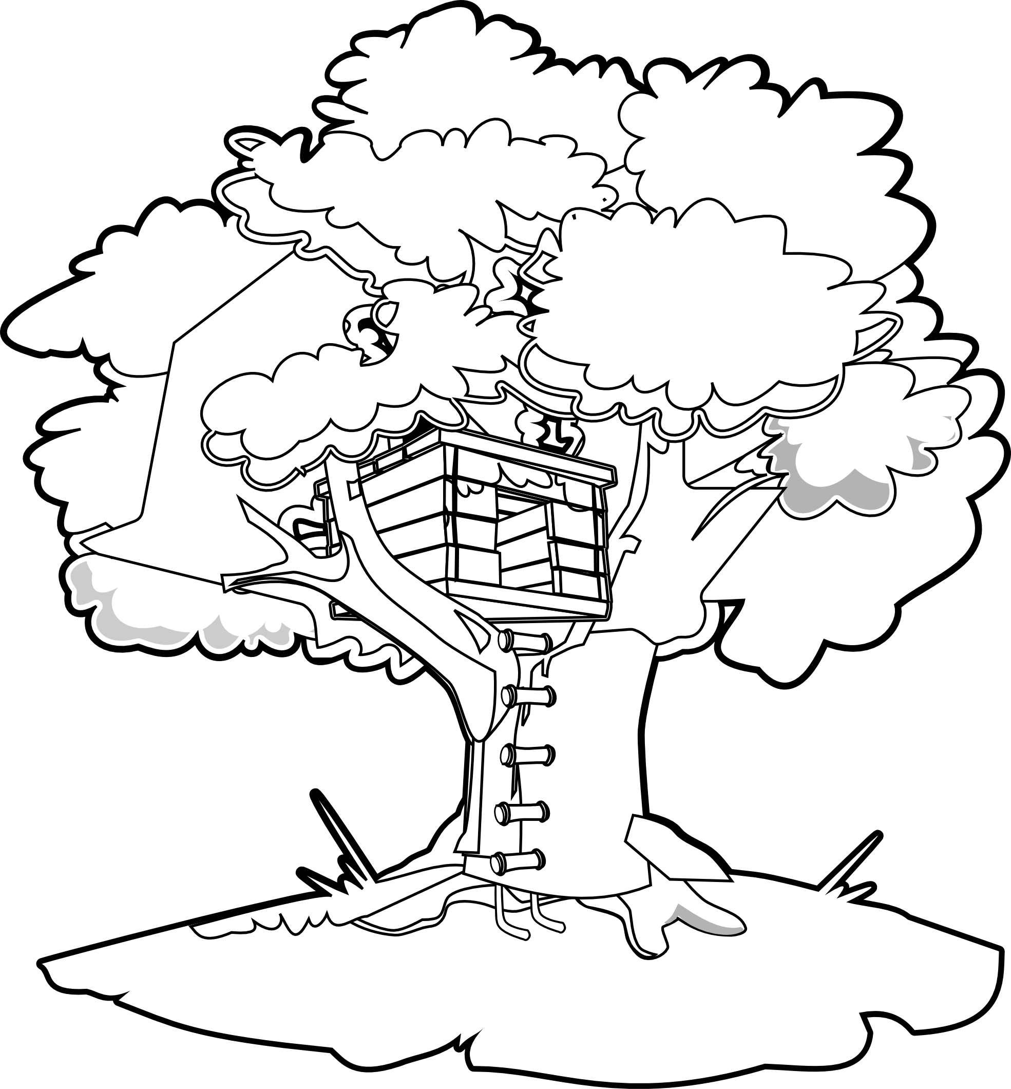 clipartist.net » Clip Art » tree house black white line art SVG.