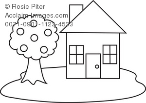 Clip Art Illustration of a House With Tree in Black and White.