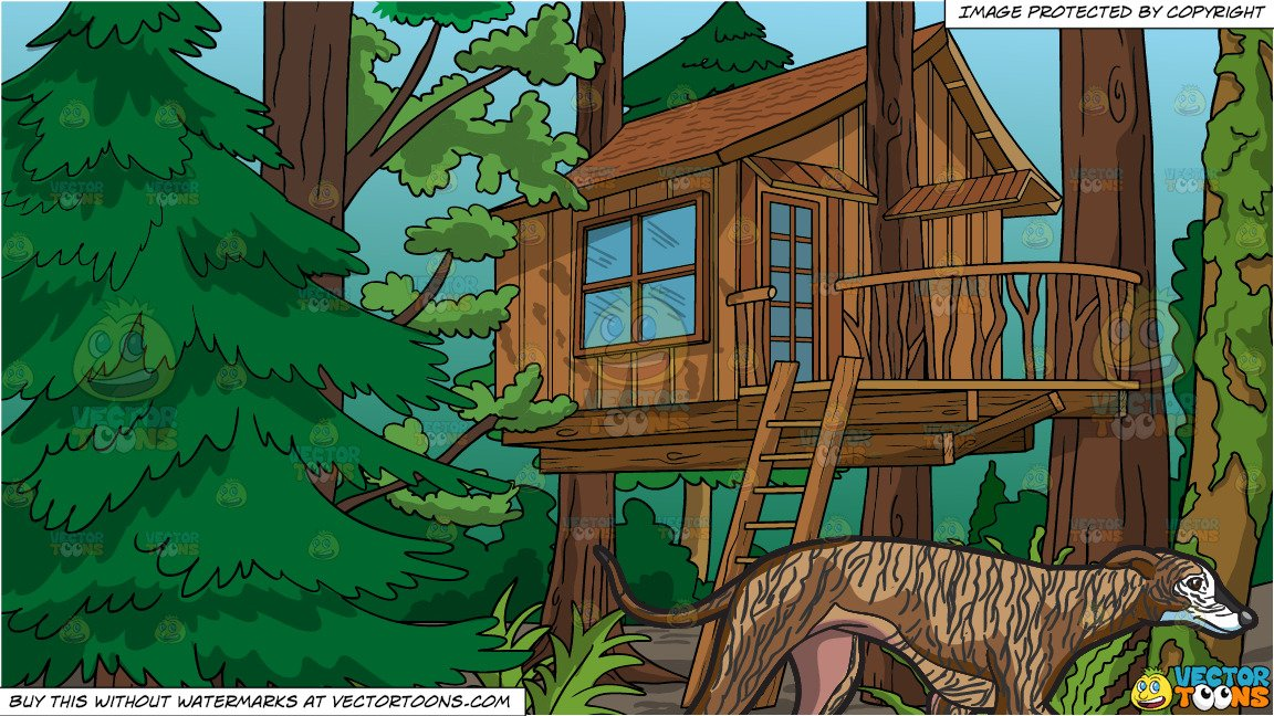 A Shy Greyhound Walking Away and A Treehouse In The Woods Background.