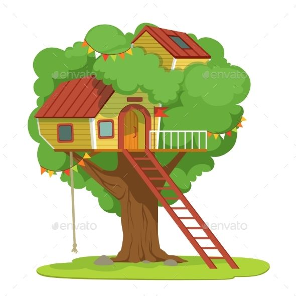House with Ladder on Green Tree Vector #Ladder, #House.