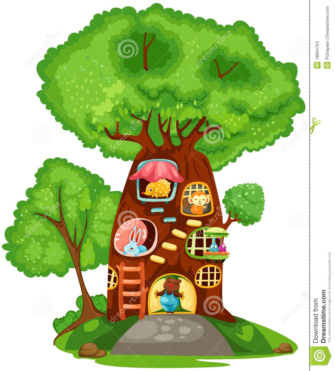Kids tree house clipart.