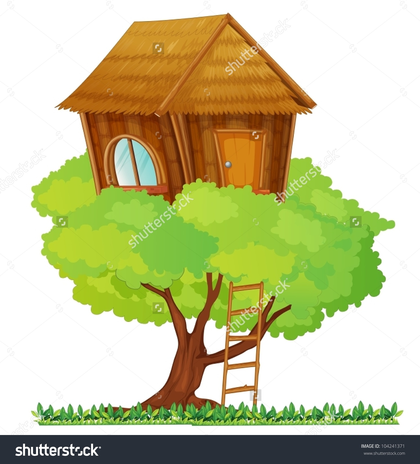 Illustration Small Tree House Stock Vector 104241371.