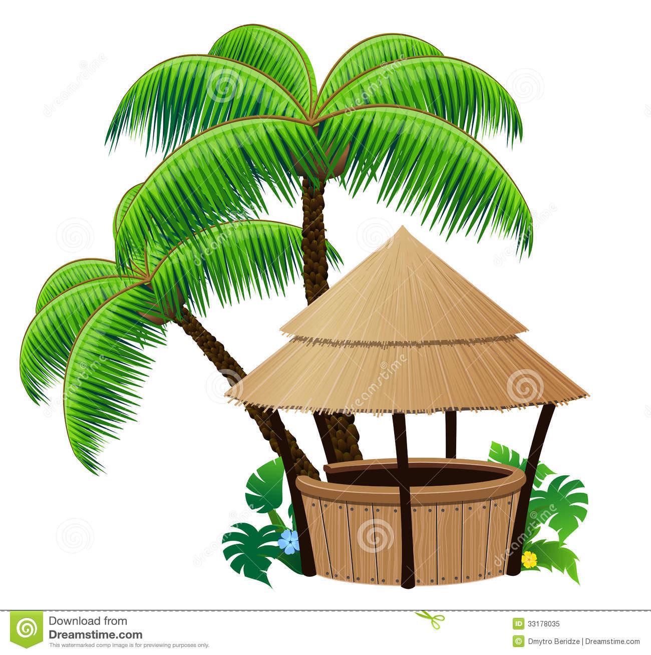 Palm Tree Hut Clipart.