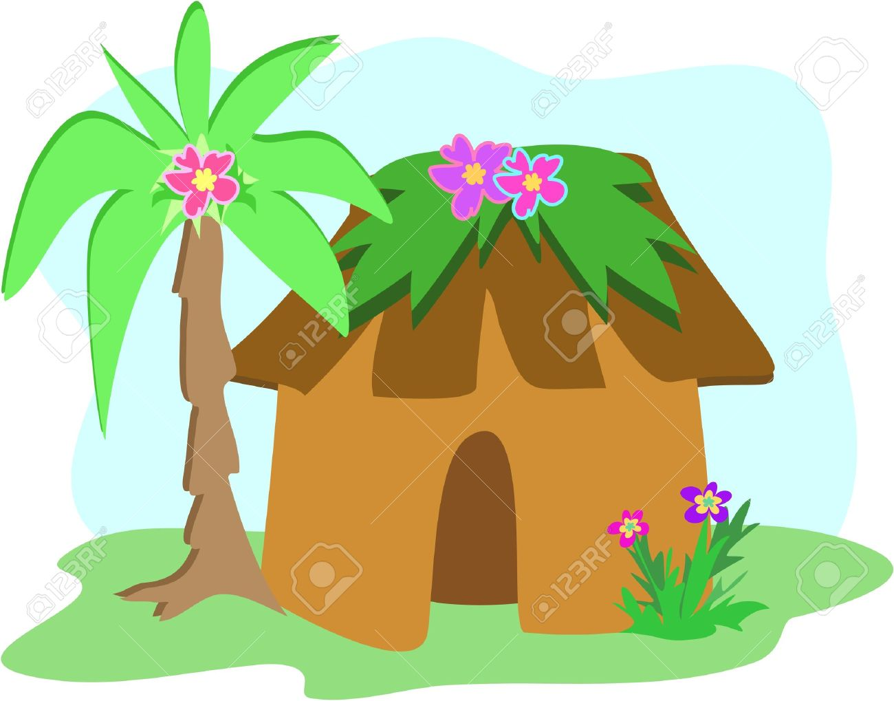 Tropical Hut With Palm Tree Royalty Free Cliparts, Vectors, And.