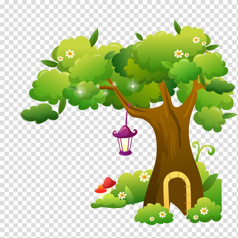 Green tree illustration, Cartoon Illustration, Cartoon tree.