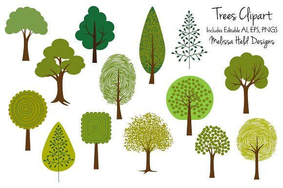 Tree Clipart 2 Graphics A collection of 14 updated and.