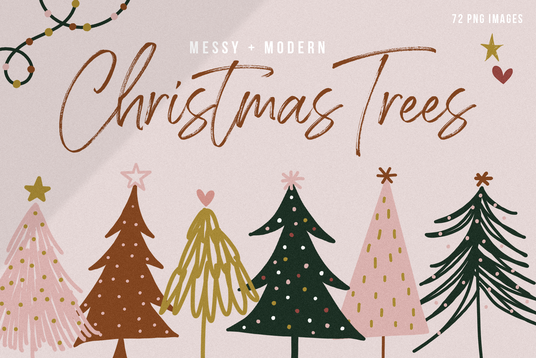 Modern & Messy Christmas Tree Illustrations.