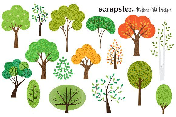 Trees Clipart Graphics A collection of 16 different tree.