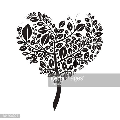 Heart Shaped Tree Silhouette Vector Illustration Clipart.