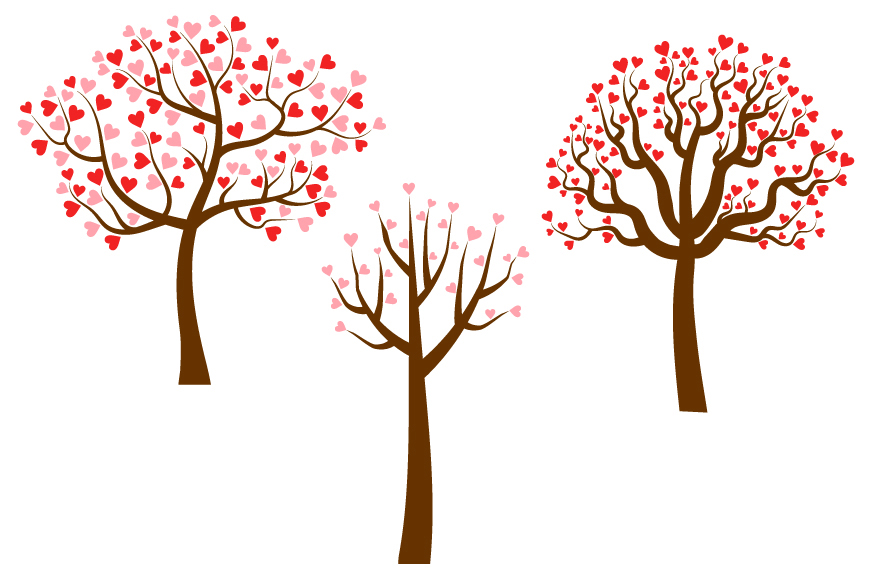 Trees with heart shaped leaves, Valentine love clipart.