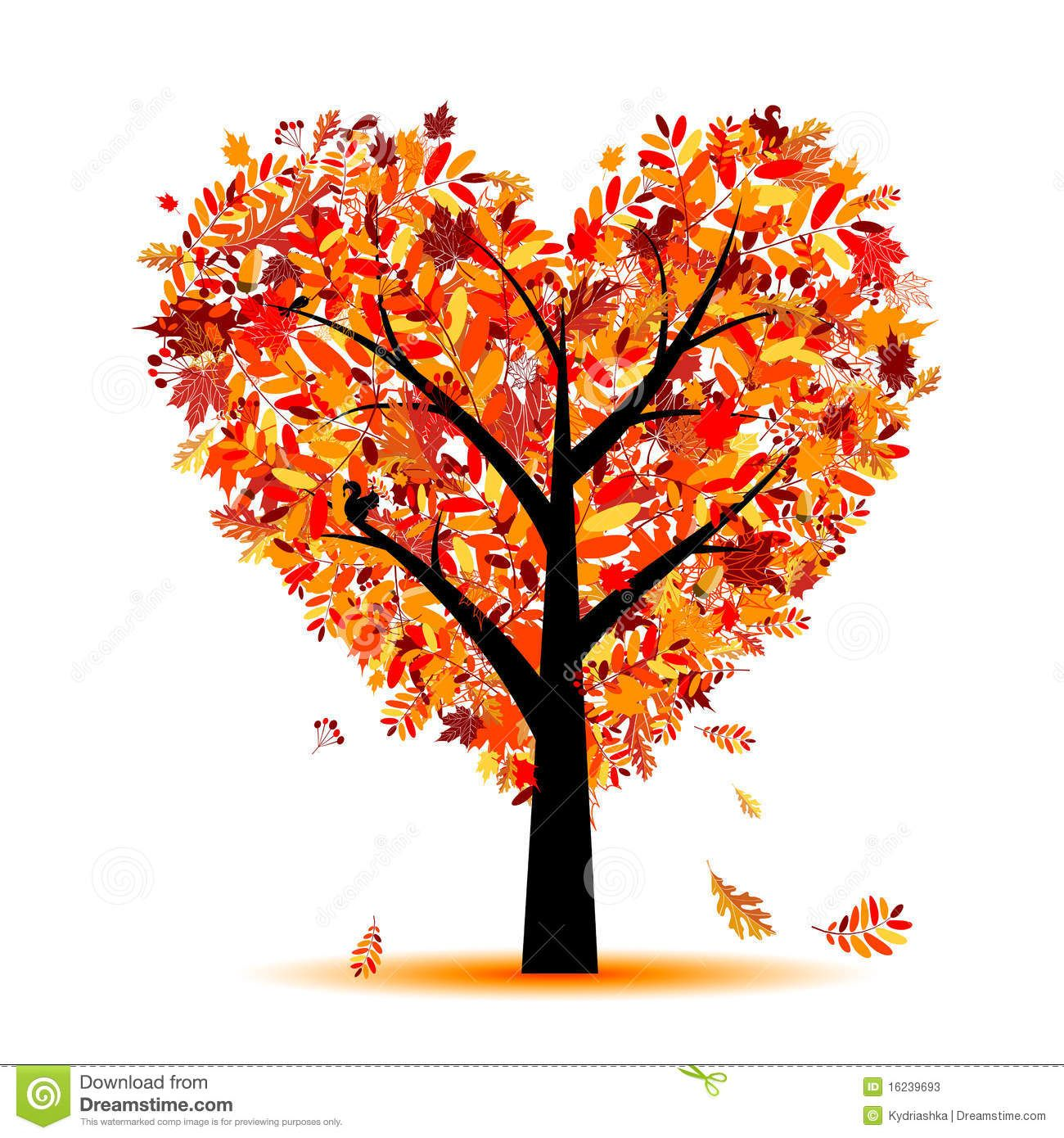 Beautiful Autumn Tree Heart Shape For Your Design.