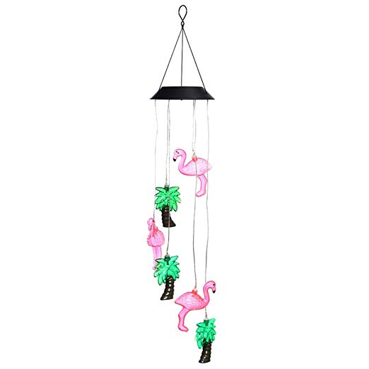 Wind Chimes Outdoor, Color Changing Solar Flamingo Tree Light Wind Chime  Dangler LED Multi.