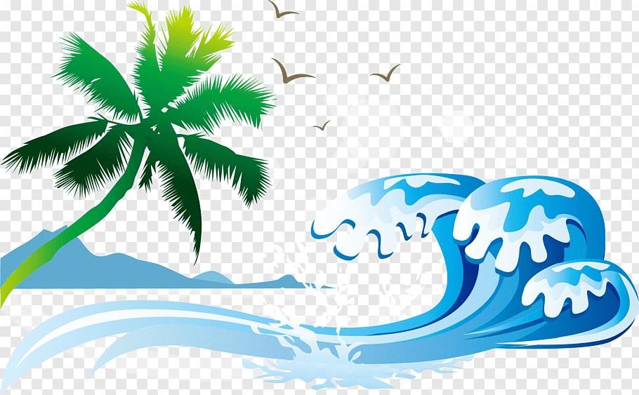 Seawaves near tree with bird background illustration, Sea.