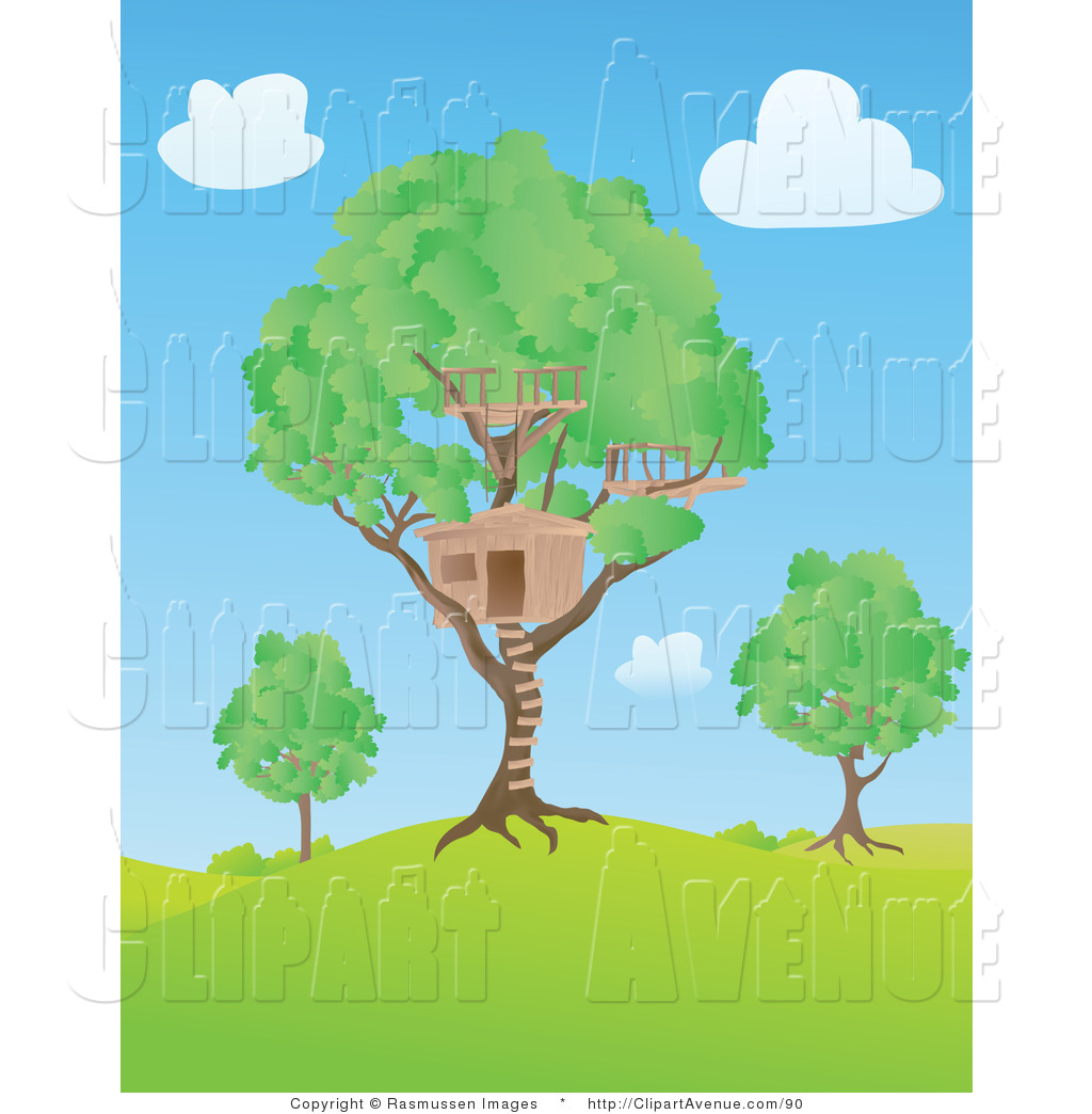 Avenue Clipart of a Big Tree House in a Lush Green Tree on a Hill.