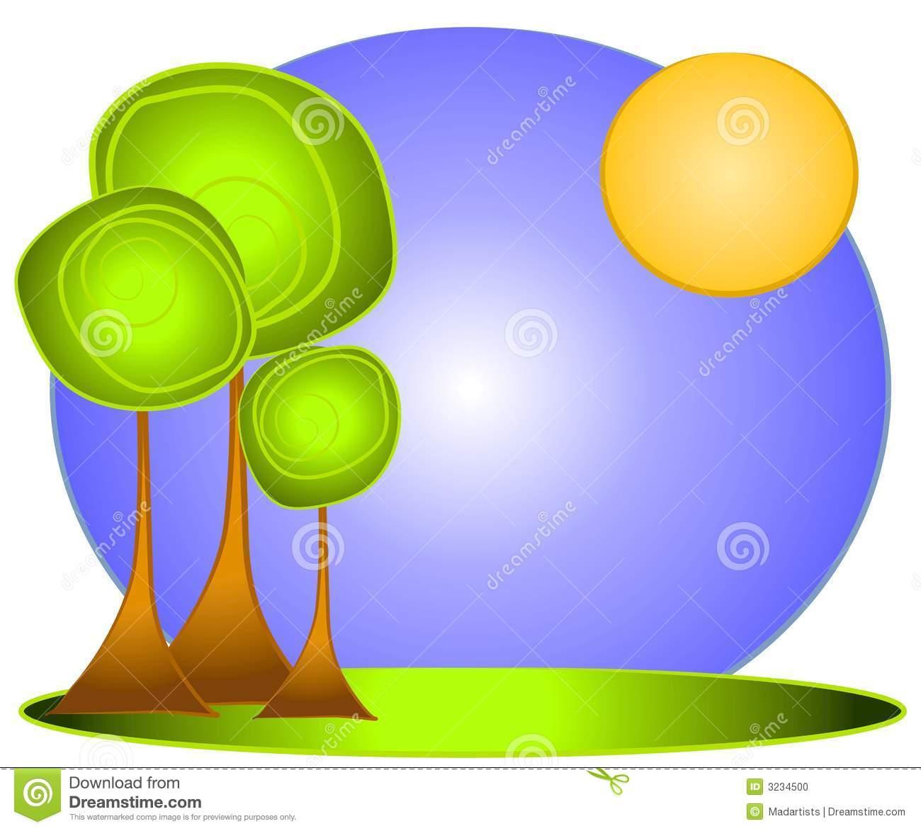 Green Tree Clip Art Or Logo Stock Photo.