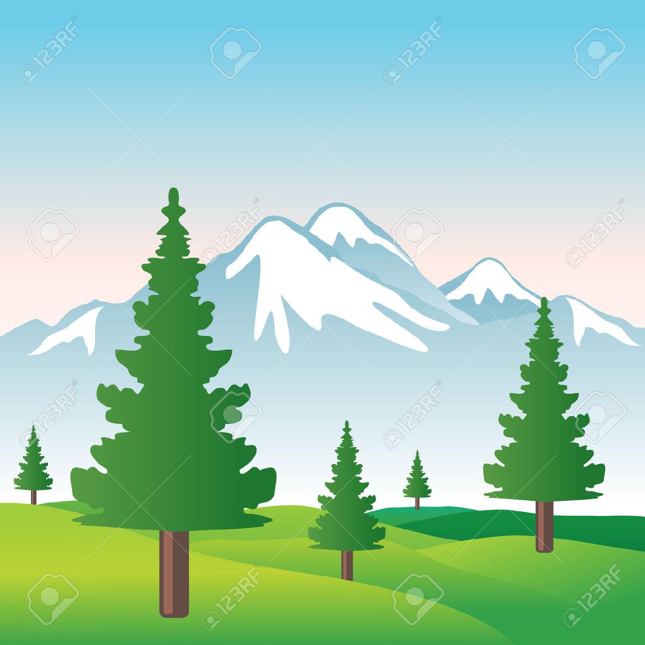 Tree mountain clipart.