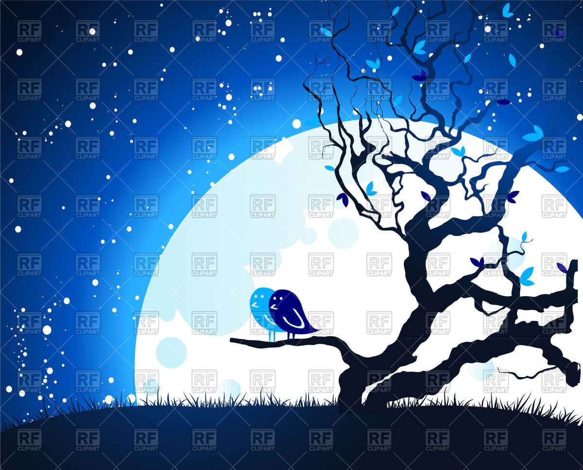 Dry leafless tree in front of moon and night starry sky Vector.
