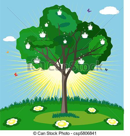 Vector Clip Art of magic tree.