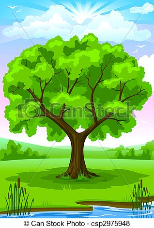 Stock Illustration of Summer landscape with old tree and sky.