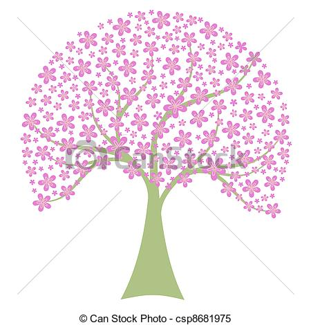 Clipart Vector of Spring Tree.