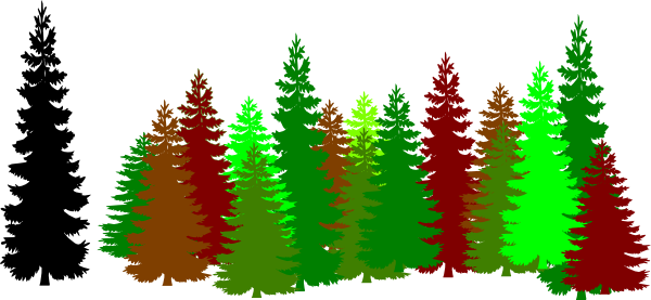 Forest <b>Trees</b> Clipart Black And White.