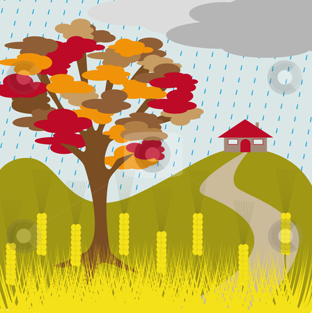 Autumn tree rain and wheat stock vector.