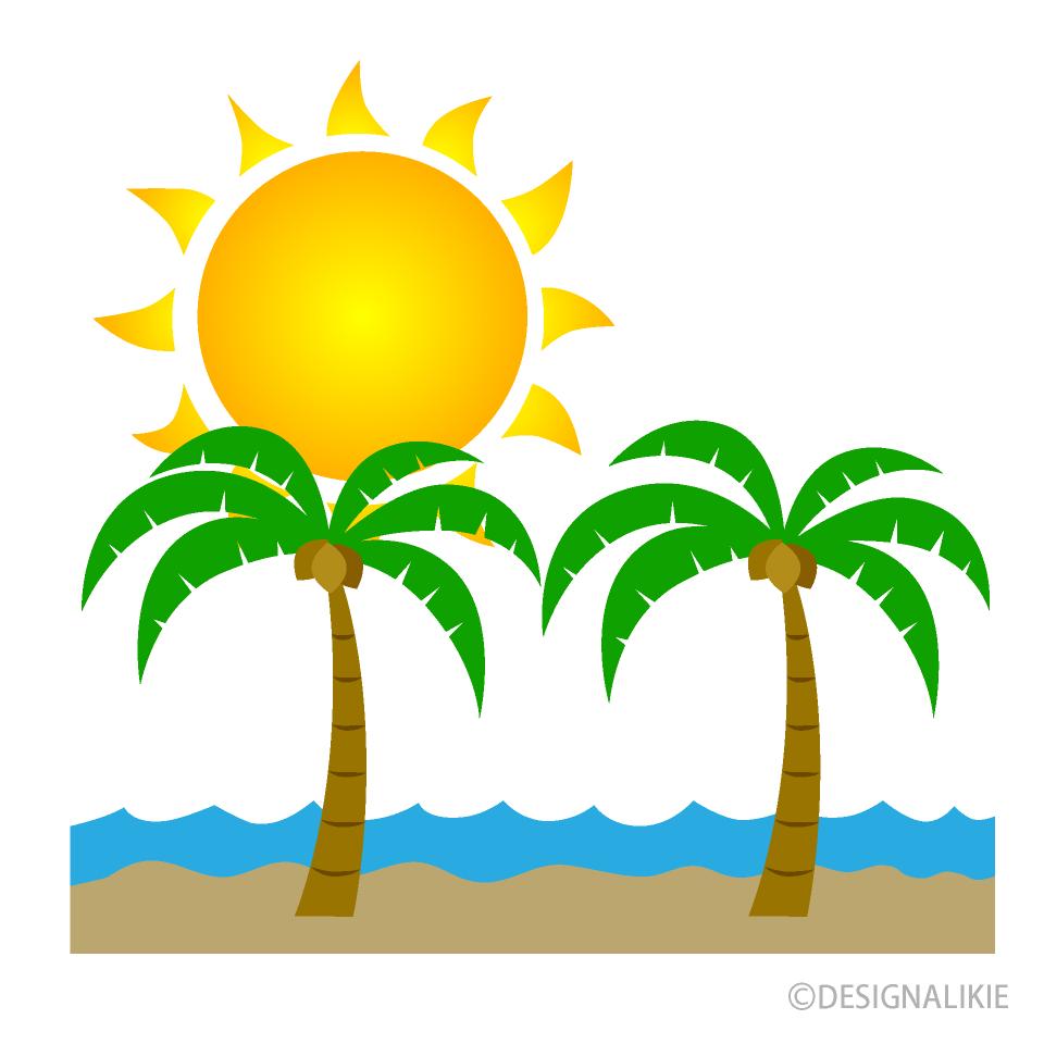 Free Sun and Palm Trees Clipart Image Illustoon.