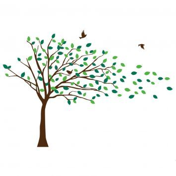 tree in wind with birds.