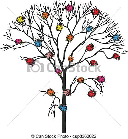Vector Illustration of Tree insects ladybugs, vector design (clip.