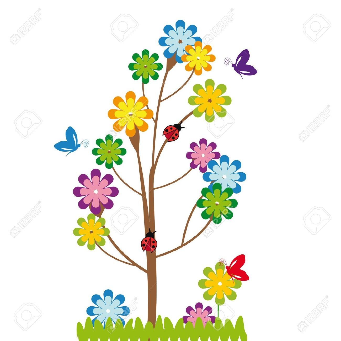 Trees flowers animals butterflies insects clipart for kids.