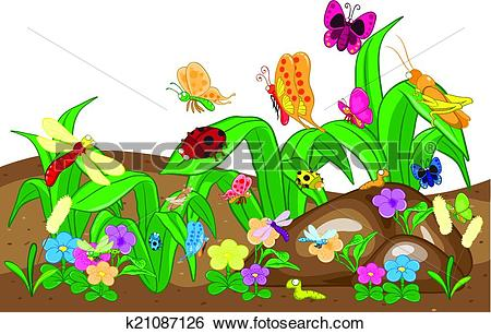 Clip Art of Insects family on the ground and tree. Insects cartoon.