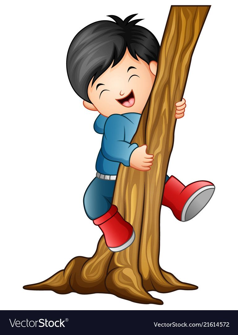 Boy climbing the tree Royalty Free Vector Image.