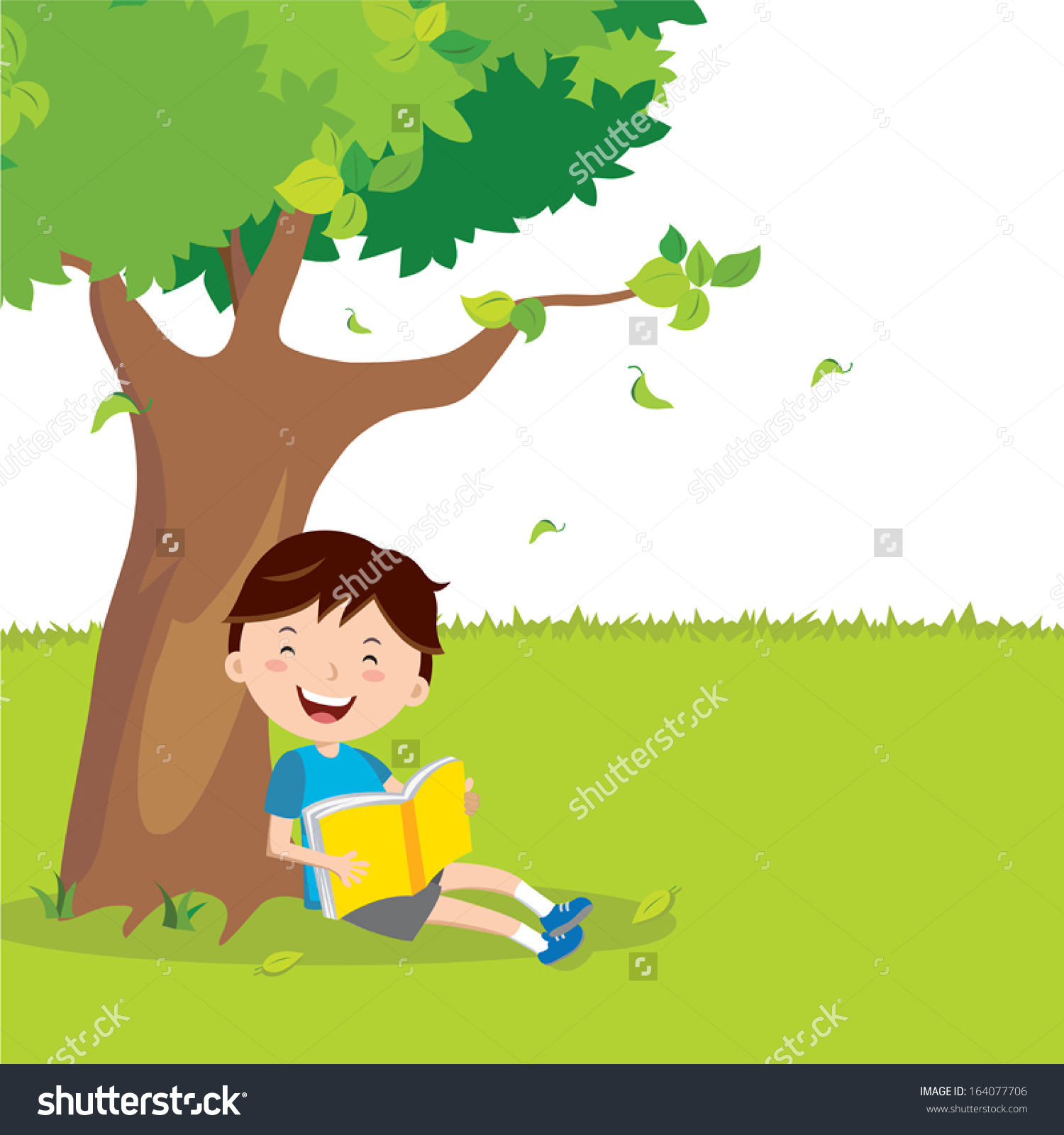 Boy Under The Tree Clipart.
