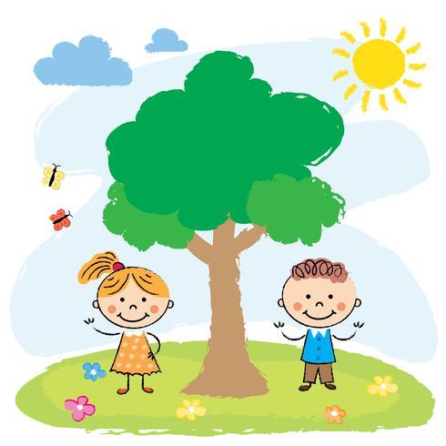 Boy and girl near big tree.