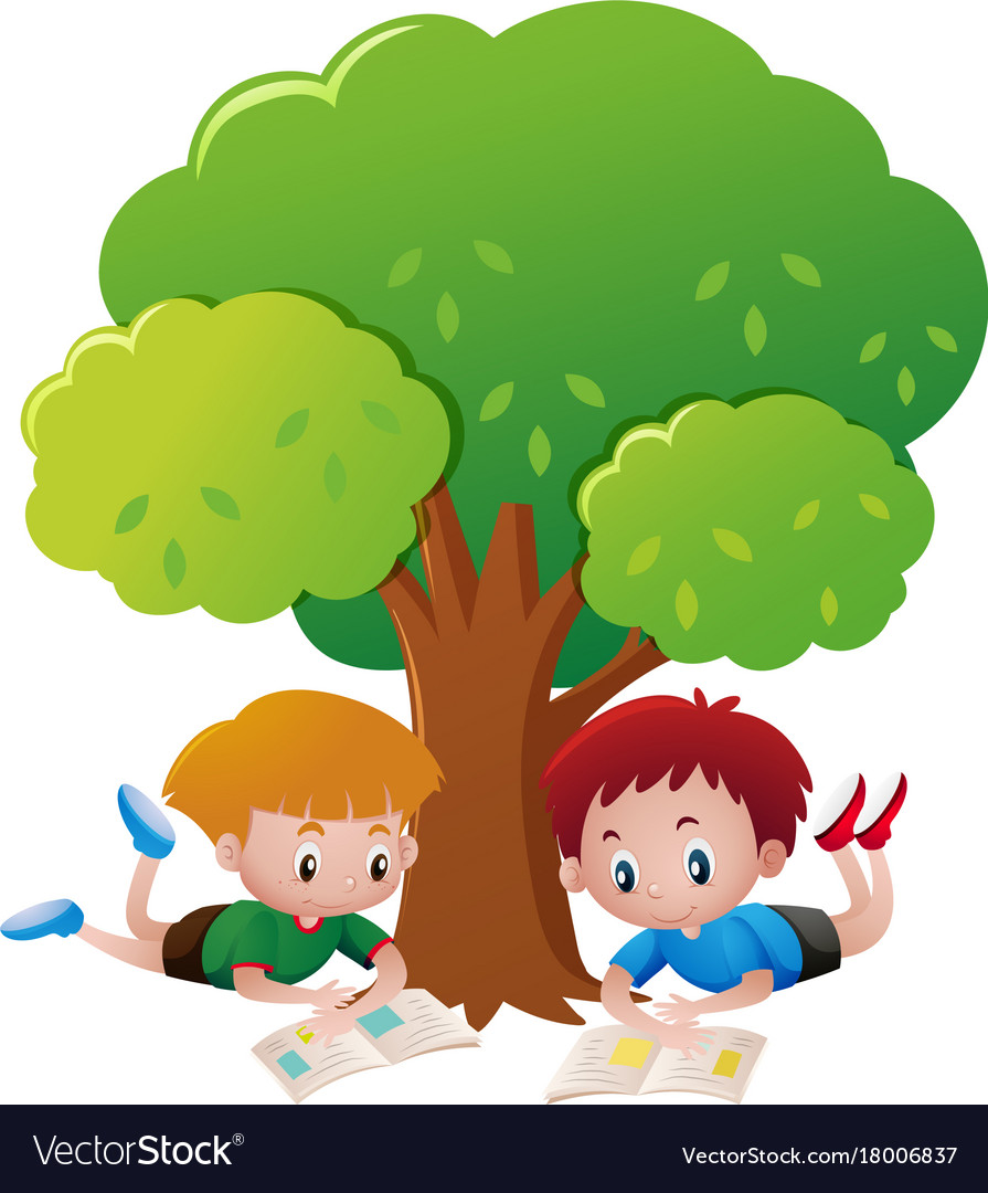 Two boys reading book under tree.