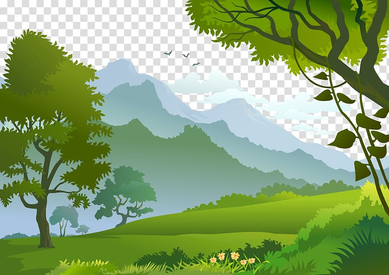Forest Landscape Illustration, Forest, trees and mountains.