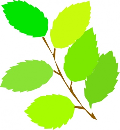 Twig with Leaves Clip Art.