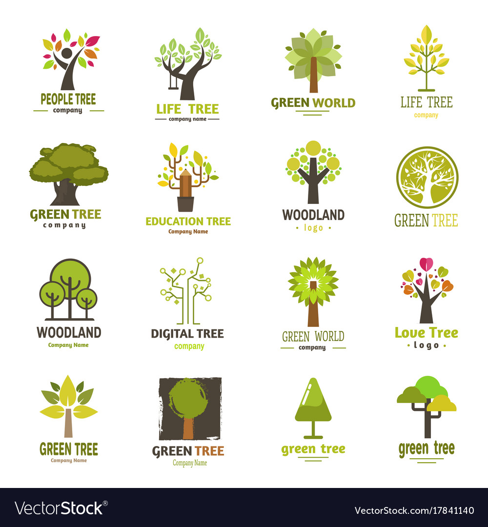Green tree silhouette logo badge company nature.