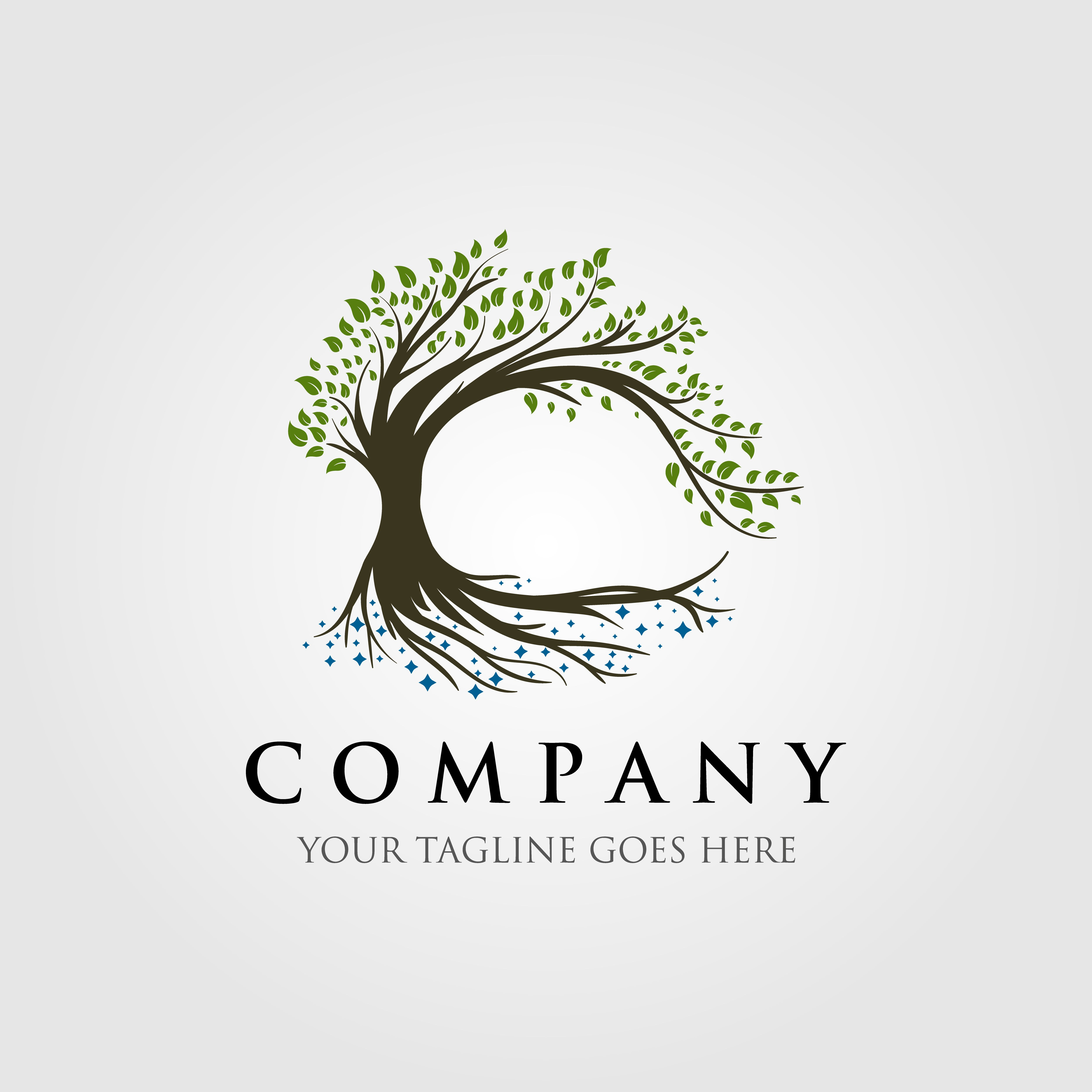 tree logo illustration design, oak logo, vintage tree, olive.