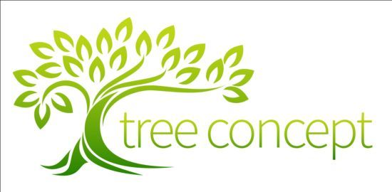 Green tree logos vector graphic 01.