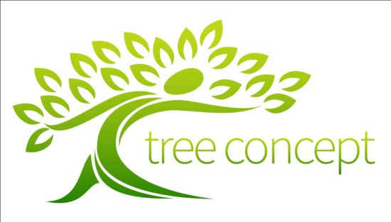 Green tree logos vector graphic 04 free download.