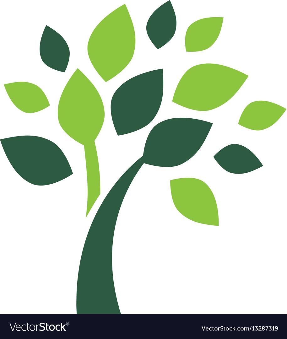 Minimalist green tree logo symbol.