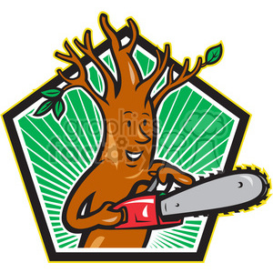 tree man chainsaw clipart. Royalty.