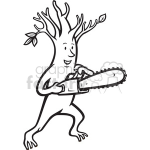 black and white tree man chainsaw clipart. Royalty.